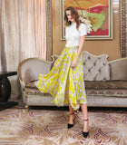 Mulberry Silk Yellow Print Wrap Skirt - Kharla Khufu