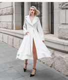 Luxury Silk Trench Coat Elegant Ladies Outerwear Overcoat - Kharla Khufu