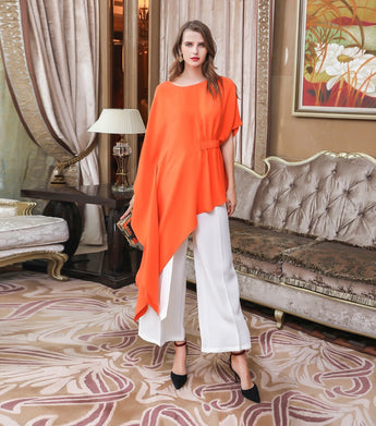 100% Mulberry Silk Orange Blouse - Kharla Khufu