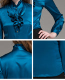 94%Mulberry Silk 6%Spandex Long Sleeve Peacock Blue Blouse - Kharla Khufu