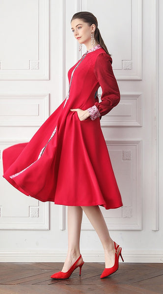 Silk Ruffle Red Dress - Kharla Khufu