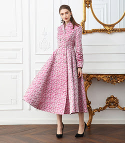 100% Mulberry Silk Pink High Waist Runway Tunic Trench Coat with Crystal Buttons - Kharla Khufu