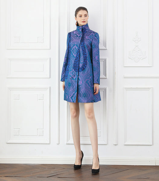 100% Mulberry Silk Jacquard Purple Coat - Kharla Khufu