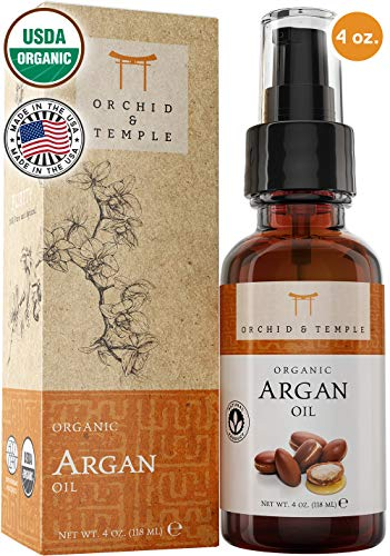 100% Pure USDA Certified ORGANIC Premium Moroccan Argan Oil 4oz. Orchid and Temple is MADE IN THE USA. Cold Pressed and Unrefined. For Nails, Hair, and Skin. : Beauty - Kharla Khufu