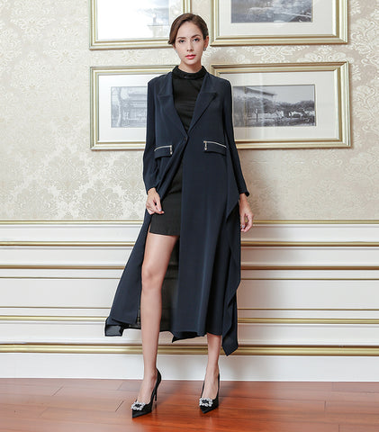 Classic Navy Blue 41 MM Heavy Silk Long Trench Coat - Kharla Khufu