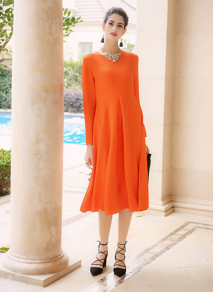 Silk Orange Elegant Long Sleeve Slim V Neck Dress - Kharla Khufu