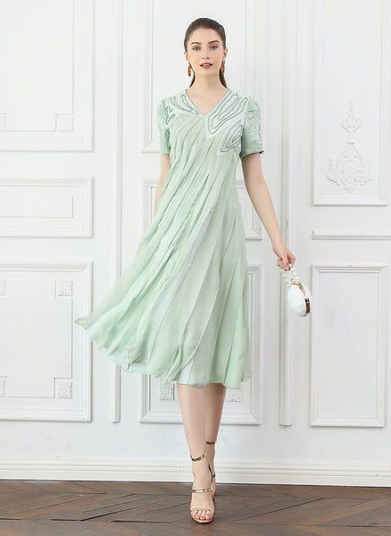 100% Silk Midi Mint Green Pleated Dress Short Sleeve - Kharla Khufu