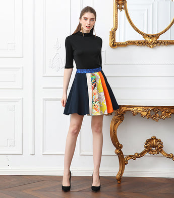 100% Mulberry  Silk Mini Skirt A Line Navy Blue Printed and Pleated - Kharla Khufu
