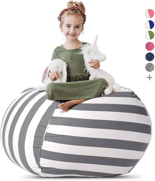 "Stuffed Animal Storage Bean Bag Chair - Extra Large Stuff 'n Sit Organization for Kids Toy Storage - Available in a Variety of Sizes and Colors (38"", Grey/White Striped) - Kharla Khufu"