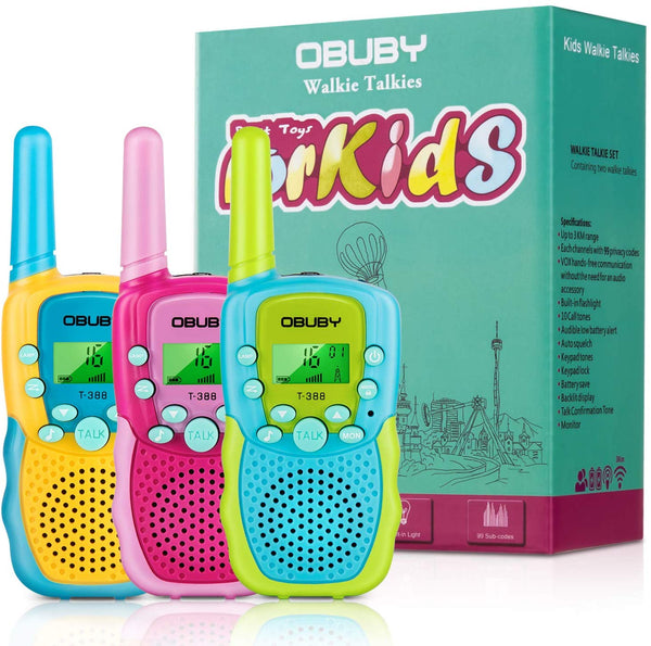 Walkie Talkies for Kids, 22 Channels 2 Way Radio Kid Gift Toy 3 KMs Long Range with Backlit LCD Flashlight Best Gifts Toys for Boys and Girls to Outside Adventure , Camping (Blue&Pink&Yellow) - Kharla Khufu