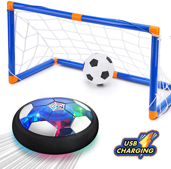 Hover Soccer Ball Toys for 3 4 5 6 7 8-16 Years Old Boy Girl , 2 Goals and Inflatable Ball,Indoor Floating Soccer with LED Light and Safe Bumper(No AA Batteries Needed) - Kharla Khufu