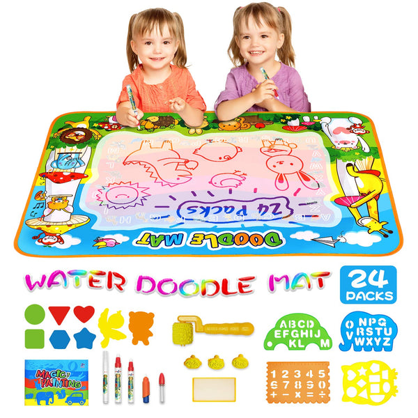 "Kids Toys Doodle Mat Aqua Magic Water Doodle Mat XL, Mess Free Coloring Painting Educational Toy, Drawing Writing Mat for Toddlers, Boys ,Girls ,Age of 2 3 4 5 6 7 8 Year Old, 40""X28"" - Kharla Khufu"