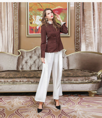 100% Mulberry Silk Brown Slim Tunic Blouse - Kharla Khufu