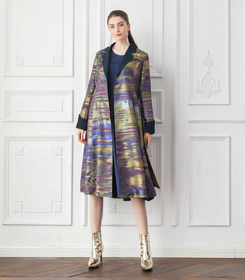 100% Mulberry Silk Jacquard Trench Coat with Bow Belt - Kharla Khufu