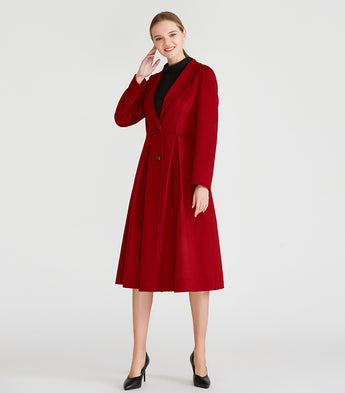Red Wool and Handmade Cashmere Double-Sided Long Outerwear Overcoat - Kharla Khufu