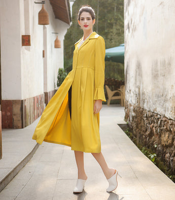 92% Mulberry Silk Solid Yellow Flare Sleeve Trench Coat - Kharla Khufu