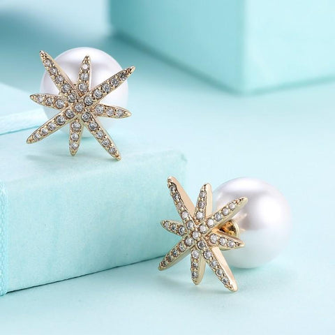 Micro-Pav'e Swarovski Crystal Star Shaped Pearl Earrings Set in 18K Gold - Kharla Khufu