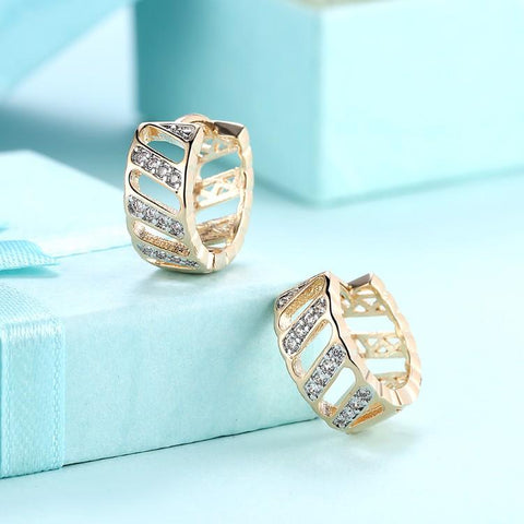 Swarovski Crystal Curved Hollow Huggies Set in 18K Gold - Kharla Khufu