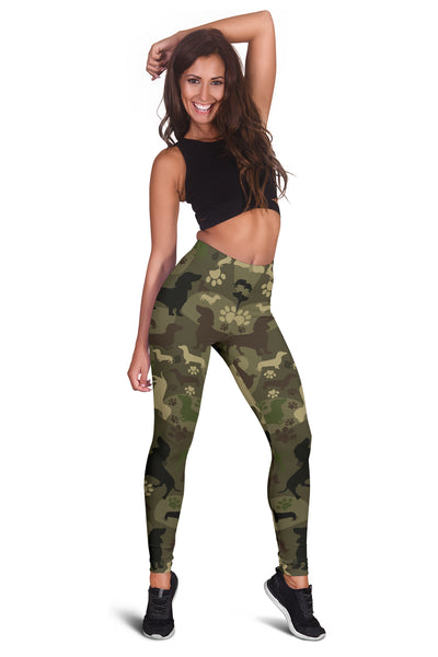 Dachshund Camo Leggings for Lovers of Dachshunds - Kharla Khufu