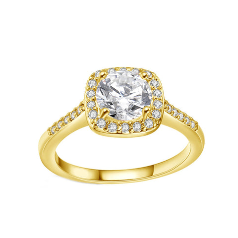 18K White Gold Plated Swarovski Crystal Halo Ring - 3 Colors Available - Kharla Khufu