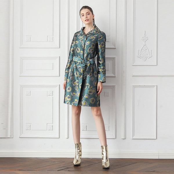 100% Mulberry Silk Jacquard Trench Coat with Floral Print and Belt Vintage - Kharla Khufu