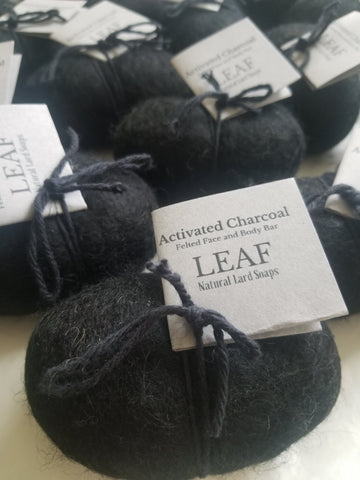 Activated charcoal and Jasmine felted rock soap