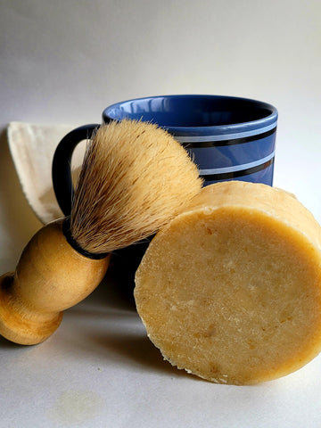 Bergamot & Shea Shave Puck with Brush