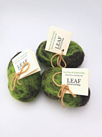 Tea Tree and Green Clay Felted Soap
