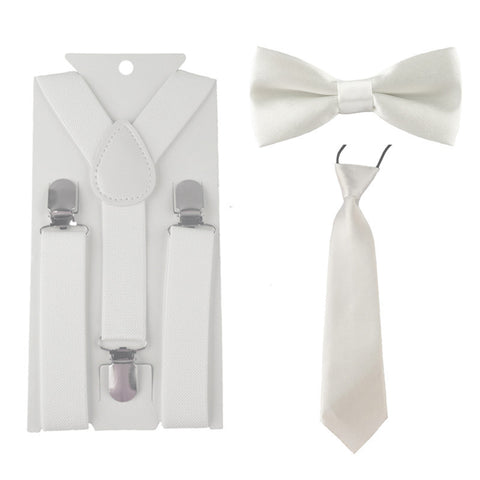 Baby's Kids Neck Tie, Bow Tie and Suspenders Set