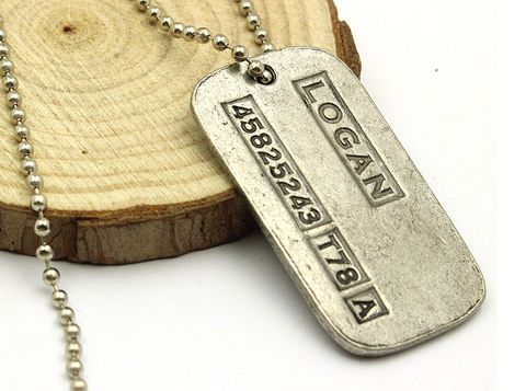 FREE + Shipping Logan Wolverine Dog Tag Necklace
