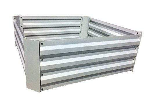"Green Valley Supply Lawn & Patio 34"" Square, 12"" Deep / White Galvanized Steel Raised Garden Bed Kit"