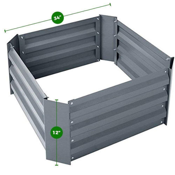 "Green Valley Supply Lawn & Patio 62"" X 34"" X 12"" / Grey Galvanized Steel Raised Garden Bed Kit"