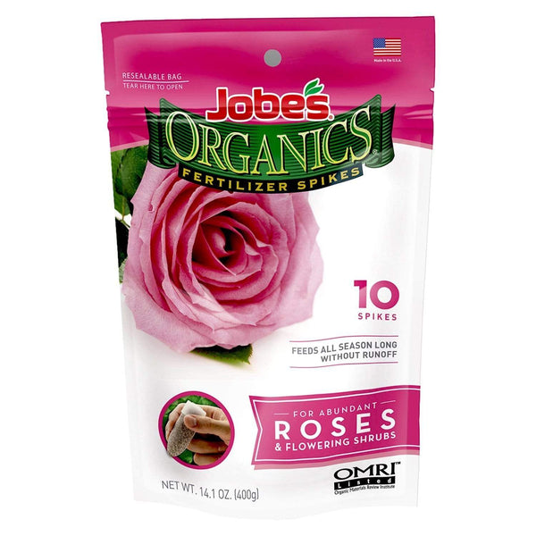 Jobe's Lawn & Patio 10 Organic Rose & Flower Fertilizer Spikes 3-5-3