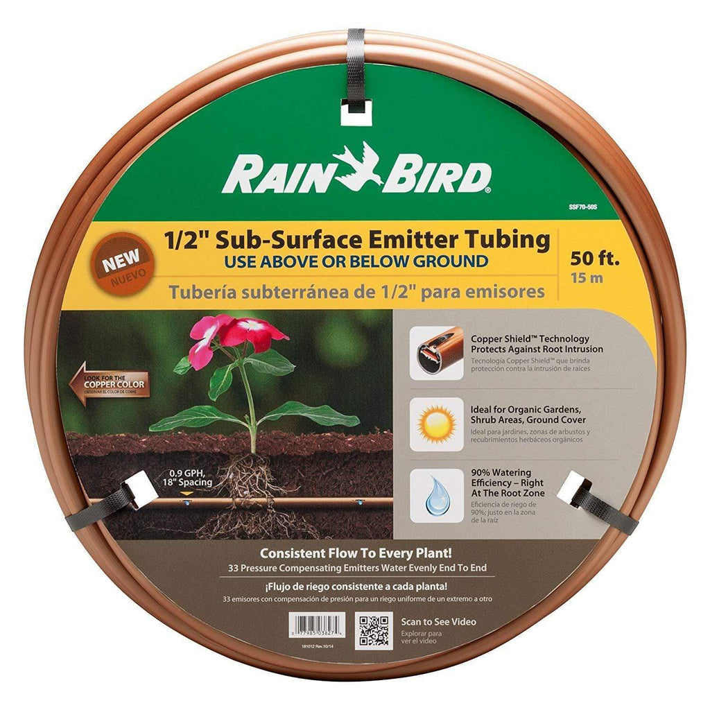 "Rain Bird Lawn & Patio 50' Drip Irrigation Pressure Compensating 1/2"" Sub-Surface Emitter Tubing with Copper Shield Technology, 18"" Emitter Spacing"