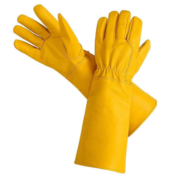 Green Valley Supply Small / Yellow Extra-long Leather Sleeved Gloves