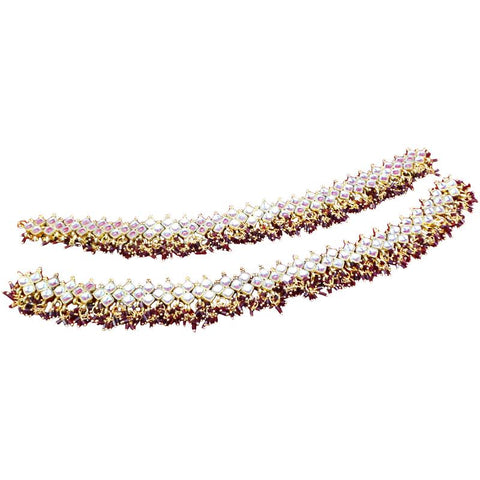 Fancy and Exquisite Gold Plated anklets with mirror stones and burgundy pearls 1