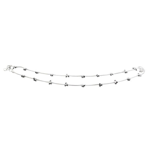 Gorgeous Silver Plated Anklets with Black Pearls