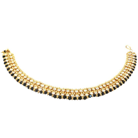 Fancy and Exquisite Gold Plated anklets with Black stones