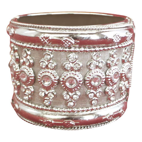 Fancy and Stylish Silver Plated Bangle with mirror stones
