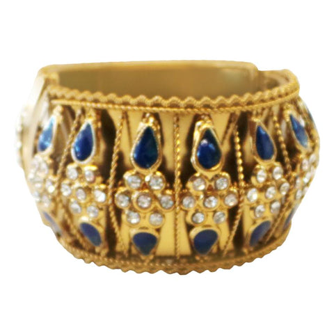 Fancy and Stylish Gold Plated Bangle with black stones