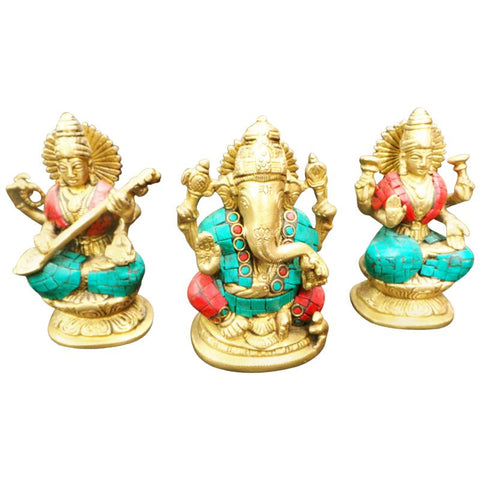 Exclusive set of 3 Ganesha-Lakshmi-Saraswati Statue in Brass