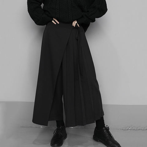 Ina Pleated Wrap-front Pants