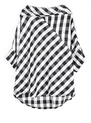 Yuki Checkered Slash Neck Blouse