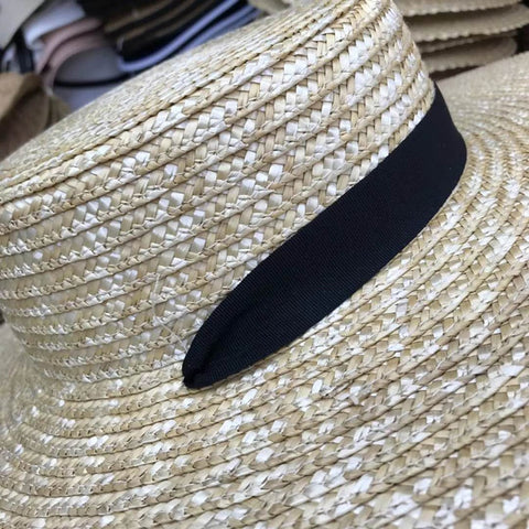 Marite Wide Boater Hat with Tie