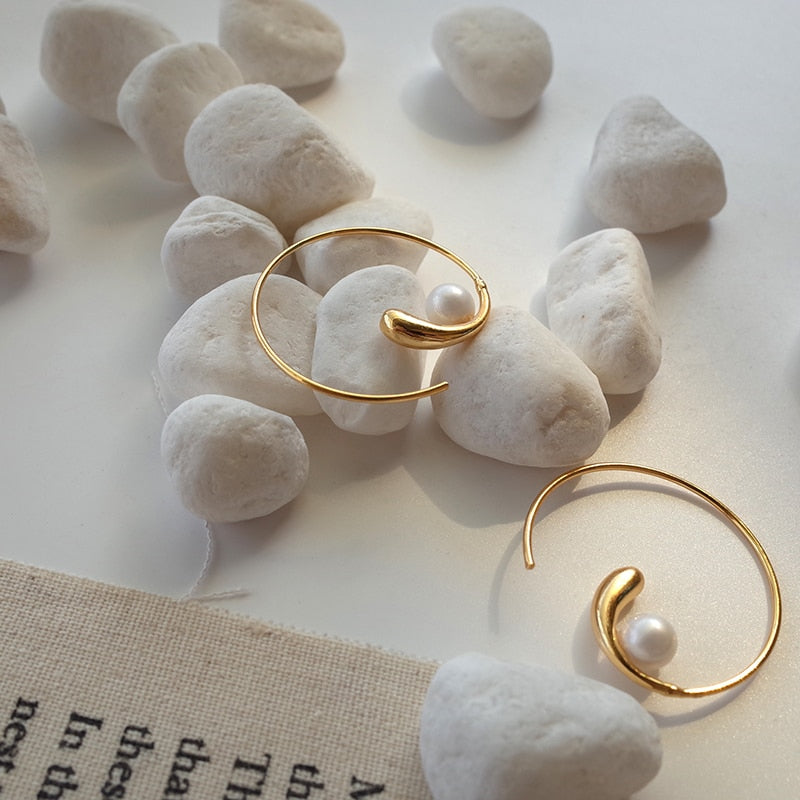 Pearl Spiral Hoop Earrings