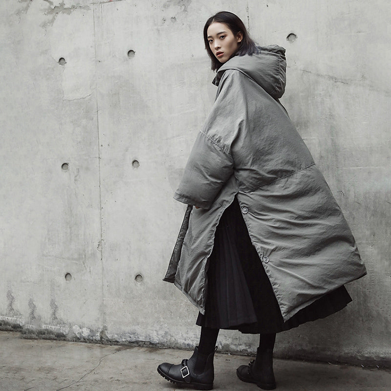 Evanne Gray Hooded Coat