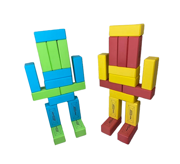 2 robots built from large toy building bricks