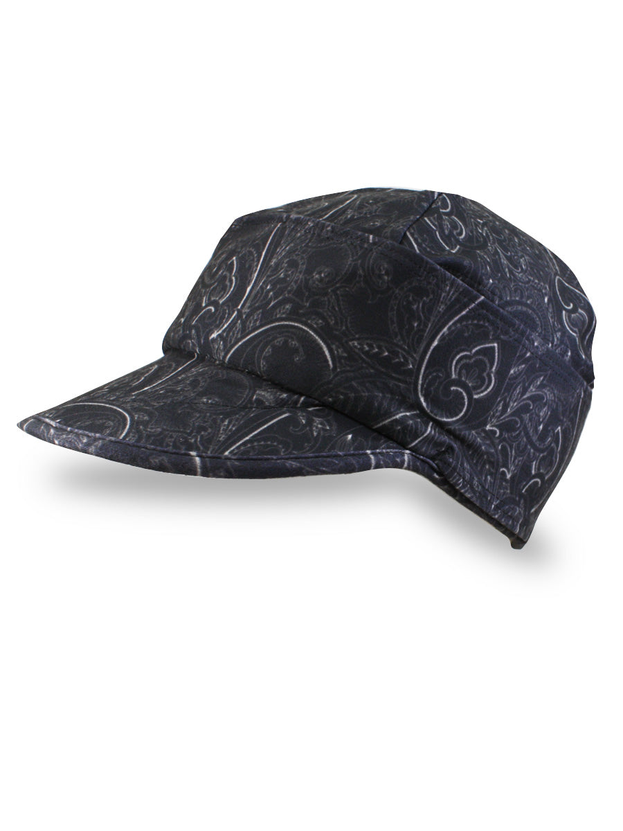 A Fleece lined winter hat with a brim in a black paisley print