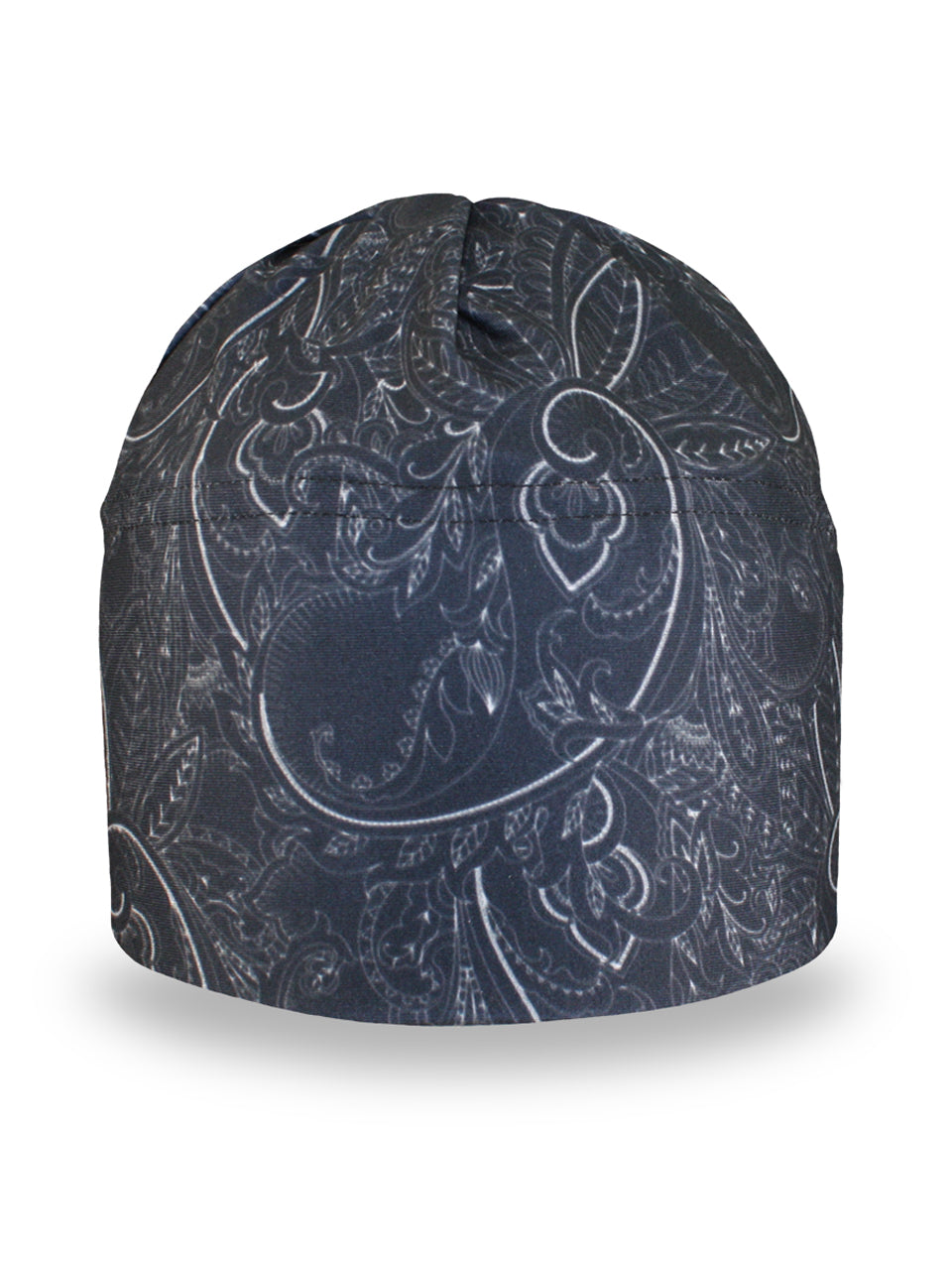Fleece lined winter hat with a black and white paisley pattern