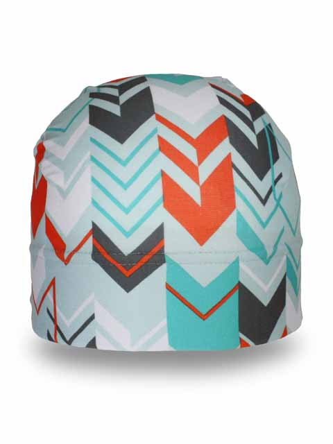chevron patterned winter hat designed to be worn under helmets
